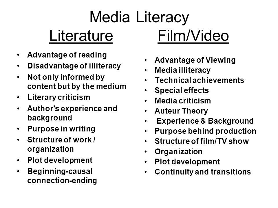 Media Literacy Literature Film/Video Advantage of reading Disadvantage of illiteracy Not only informed by content but by the medium Literary criticism Author s experience and background Purpose in writing Structure of work / organization Plot development Beginning-causal connection-ending Advantage of Viewing Media illiteracy Technical achievements Special effects Media criticism Auteur Theory Experience & Background Purpose behind production Structure of film/TV show Organization Plot development Continuity and transitions