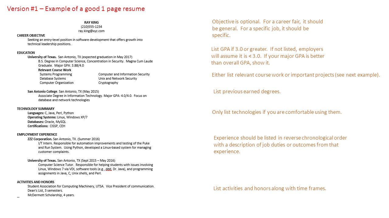 Example one page resume