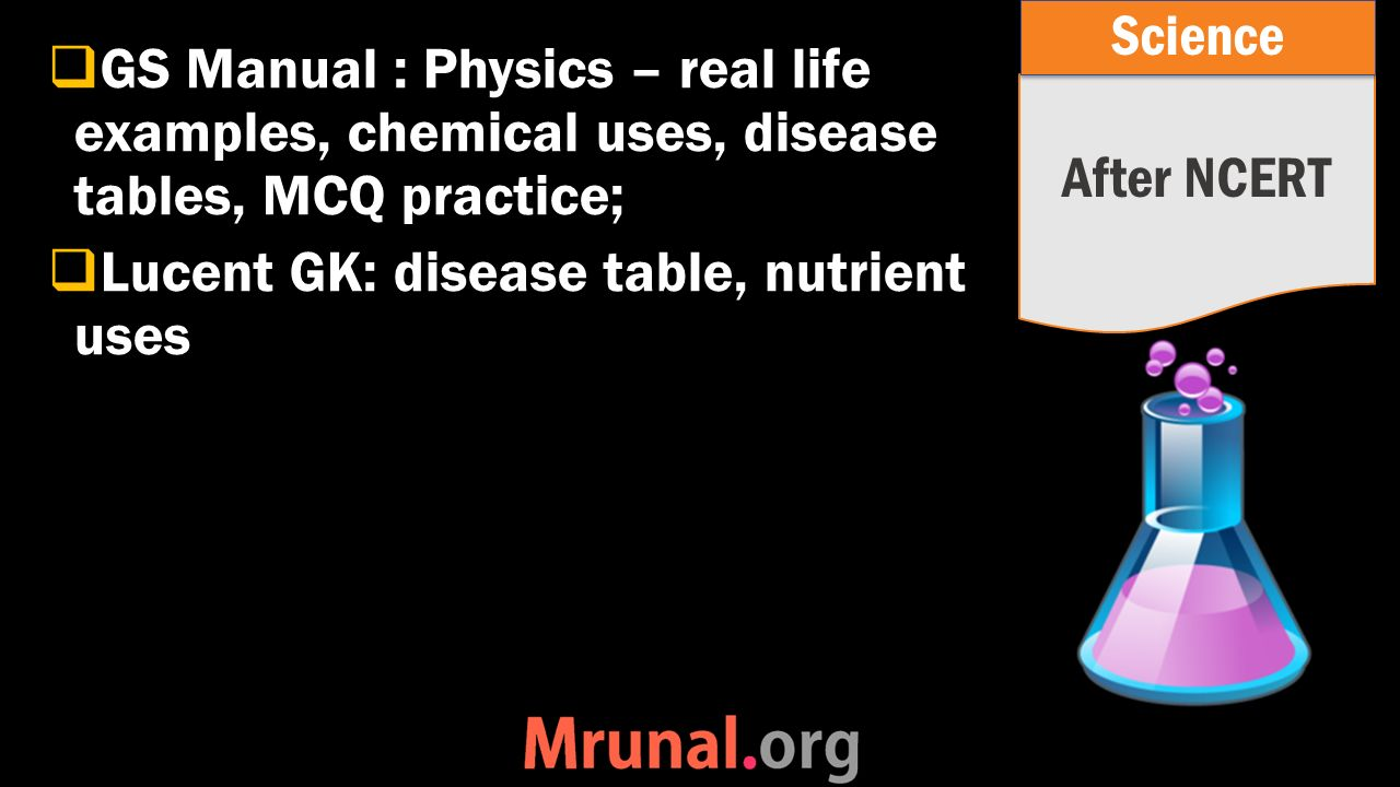  GS Manual : Physics – real life examples, chemical uses, disease tables, MCQ practice;  Lucent GK: disease table, nutrient uses After NCERT Science