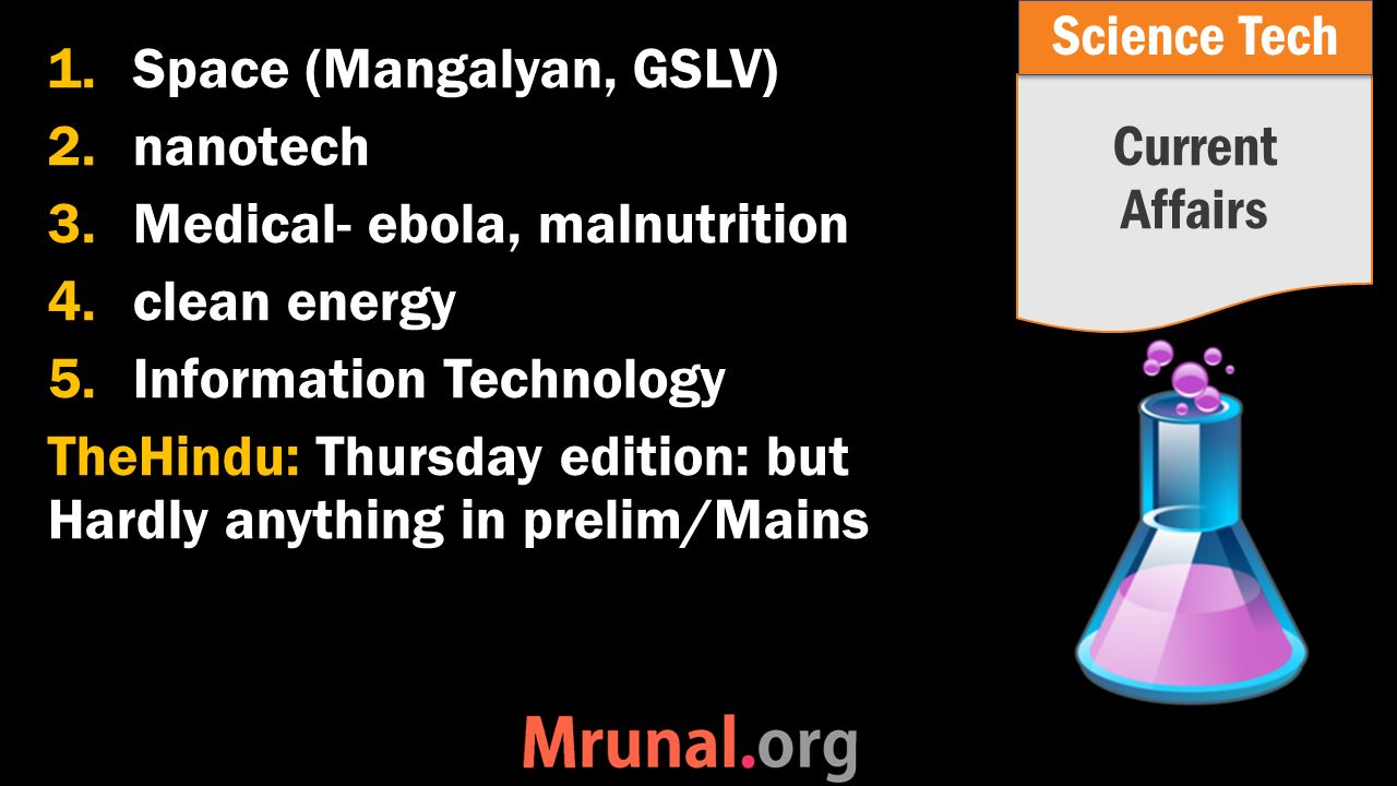 1.Space (Mangalyan, GSLV) 2.nanotech 3.Medical- ebola, malnutrition 4.clean energy 5.Information Technology TheHindu: Thursday edition: but Hardly anything in prelim/Mains Current Affairs Science Tech