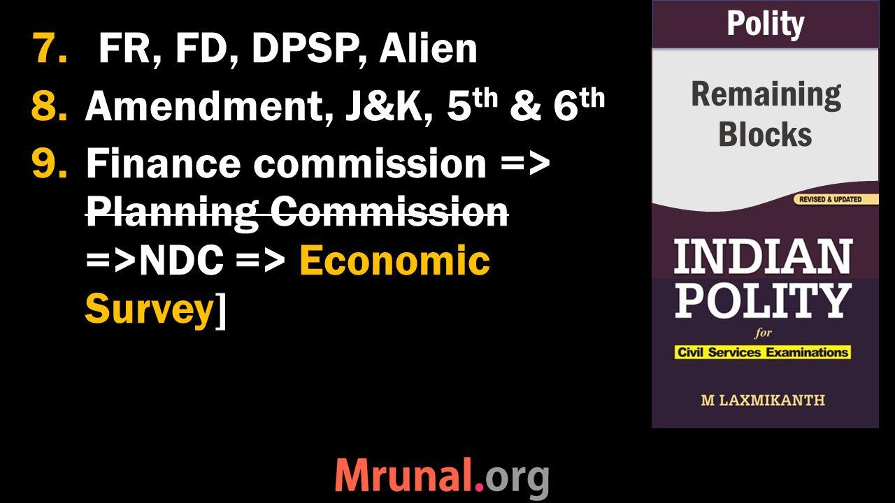 7.FR, FD, DPSP, Alien 8.Amendment, J&K, 5 th & 6 th 9.Finance commission => Planning Commission =>NDC => Economic Survey] Remaining Blocks Polity