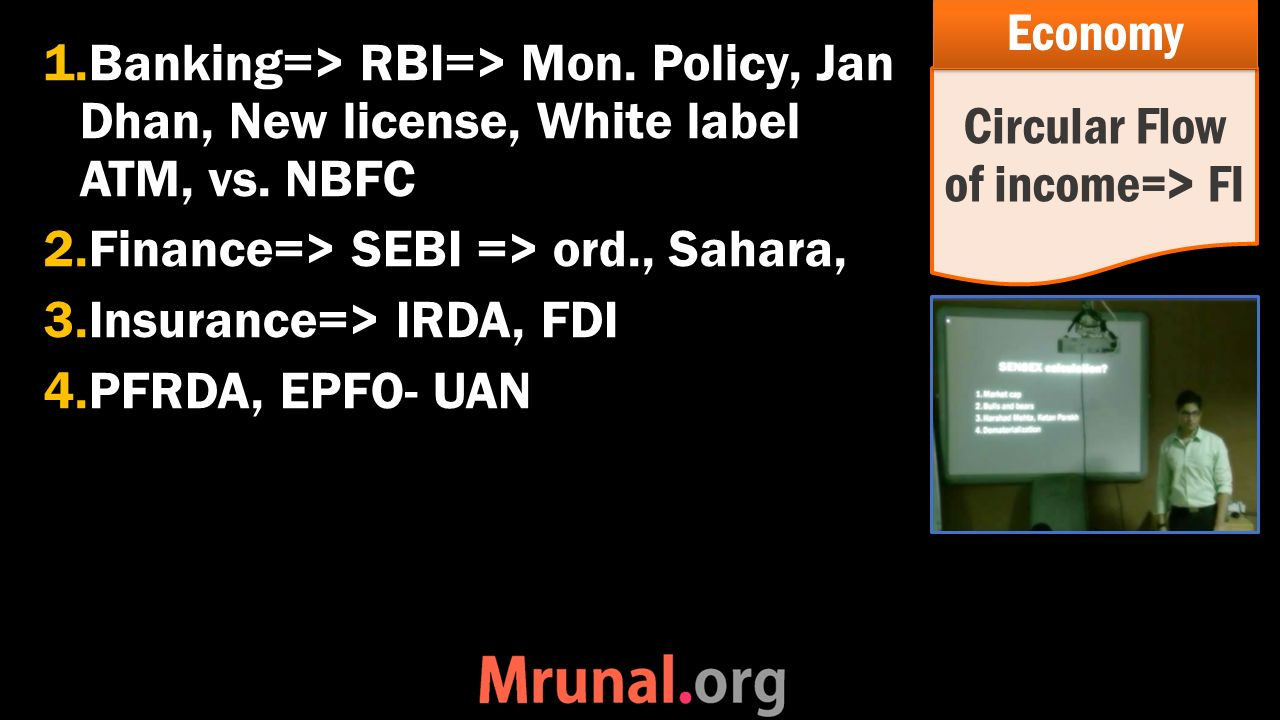 1.Banking=> RBI=> Mon. Policy, Jan Dhan, New license, White label ATM, vs.