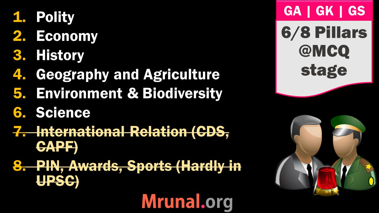 GA | GK | GS 1.Polity 2.Economy 3.History 4.Geography and Agriculture 5.Environment & Biodiversity 6.Science 7.International Relation (CDS, CAPF) 8.PIN, Awards, Sports (Hardly in UPSC) 6/8 Pillars @MCQ stage