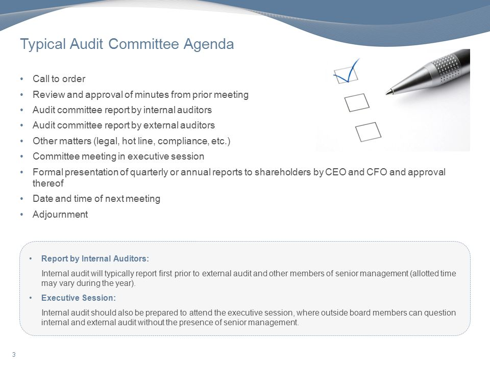 Internal Audit - Audit Committee Report. 2 Key Factors In