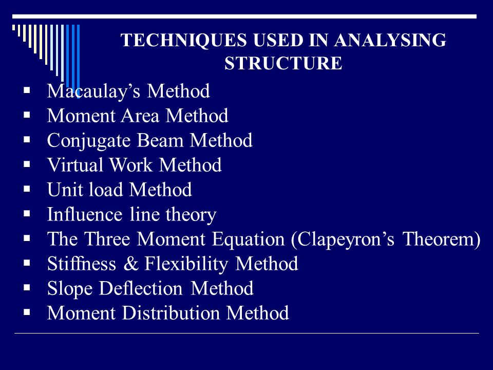 introduction to structural analysis Course: ce 3010 structural analysis course description: calculation of design loads and load paths for buildings and other structures use of classical analysis techniques to determine support reactions, internal member forces, and structural displacements of statically determinate and indeterminate structural system.