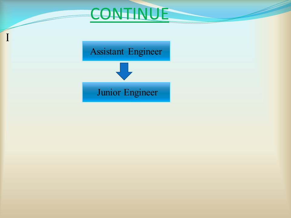 CONTINUE I Assistant Engineer Junior Engineer