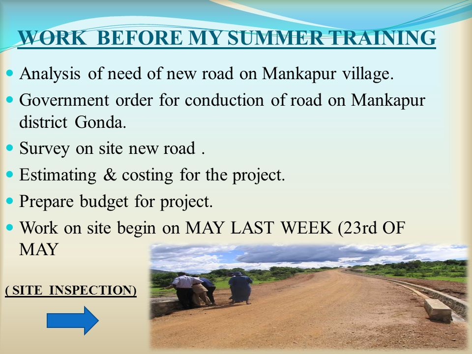 WORK BEFORE MY SUMMER TRAINING Analysis of need of new road on Mankapur village.