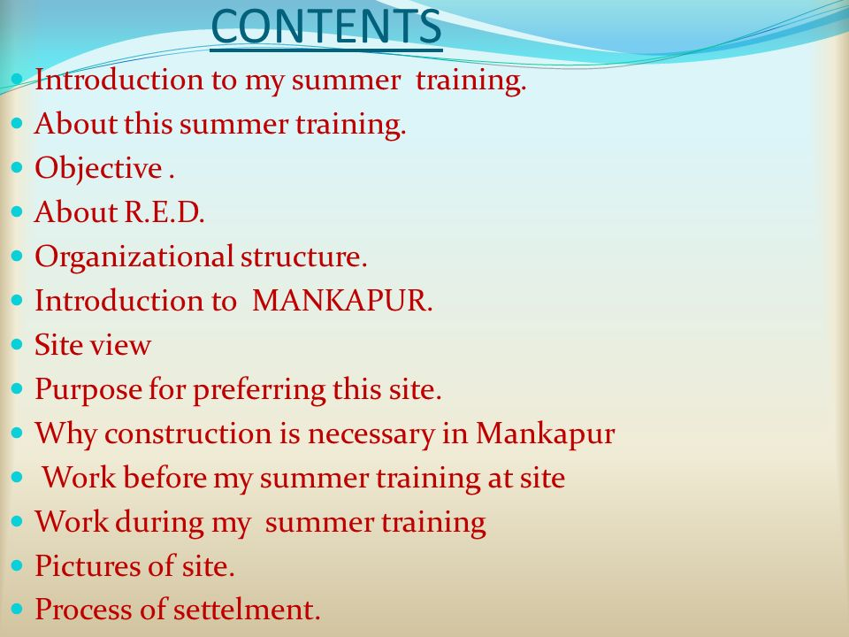 CONTENTS Introduction to my summer training. About this summer training.