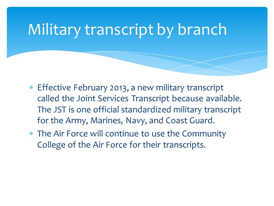 joint services transcript