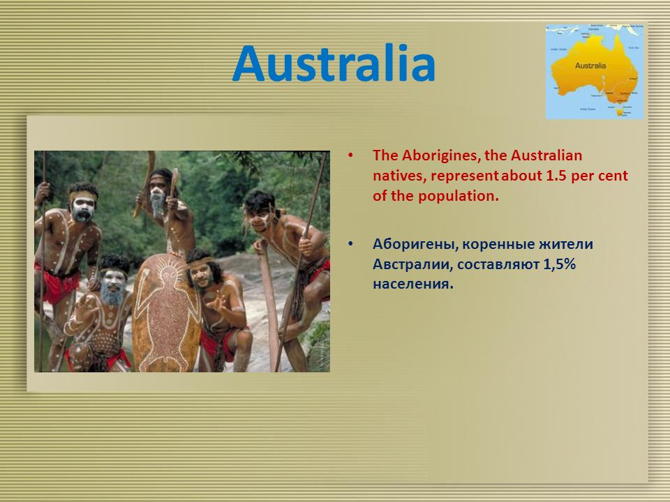 Australia The Aborigines, the Australian natives, represent about 1.5 per cent of the population.