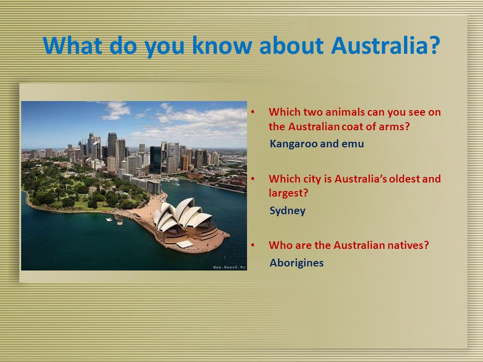 What do you know about Australia. Which two animals can you see on the Australian coat of arms.