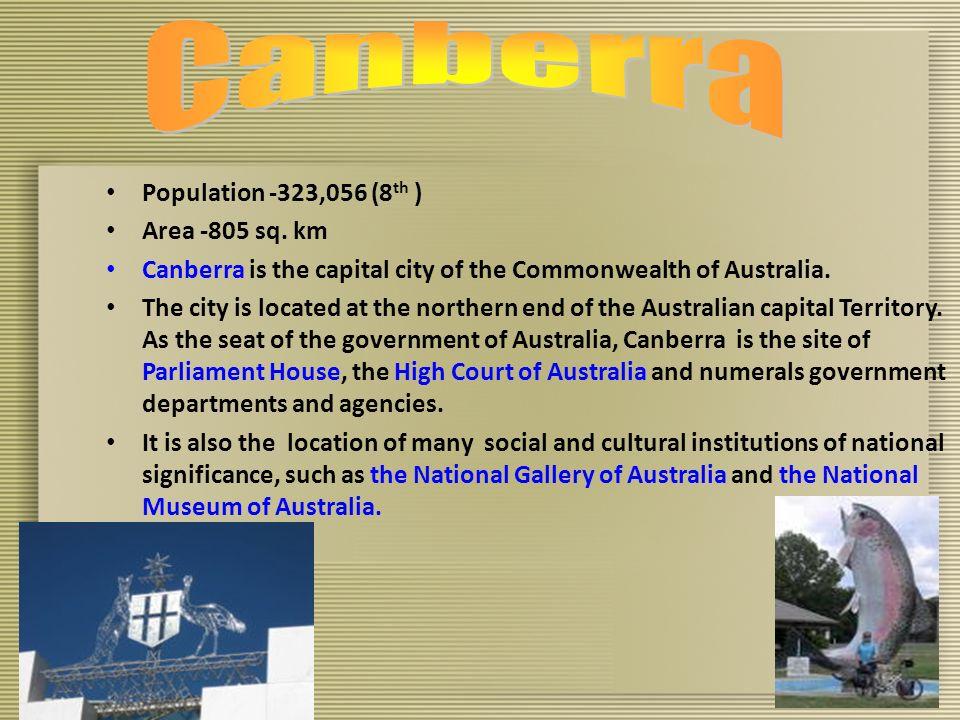 Population -323,056 (8 th ) Area -805 sq.
