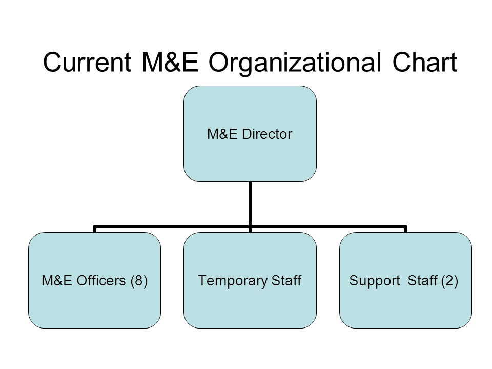 Current M&E Organizational Chart M&E Director M&E Officers (8) Temporary Staff Support Staff (2)