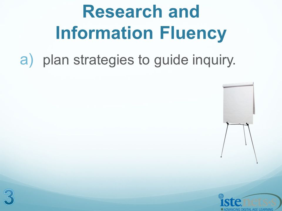 Research and Information Fluency a) plan strategies to guide inquiry.