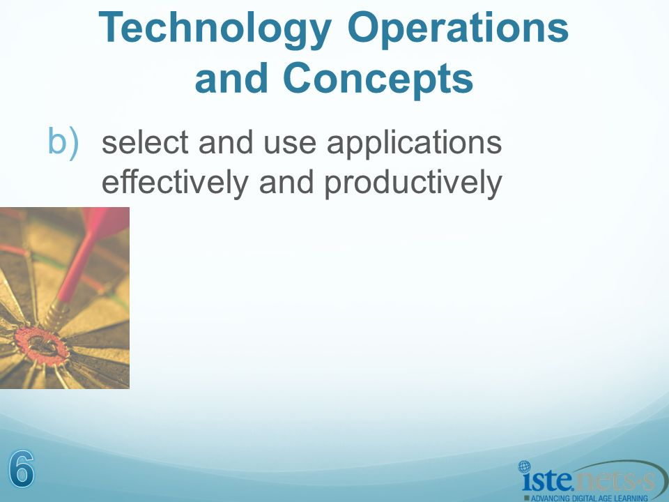 Technology Operations and Concepts b) select and use applications effectively and productively