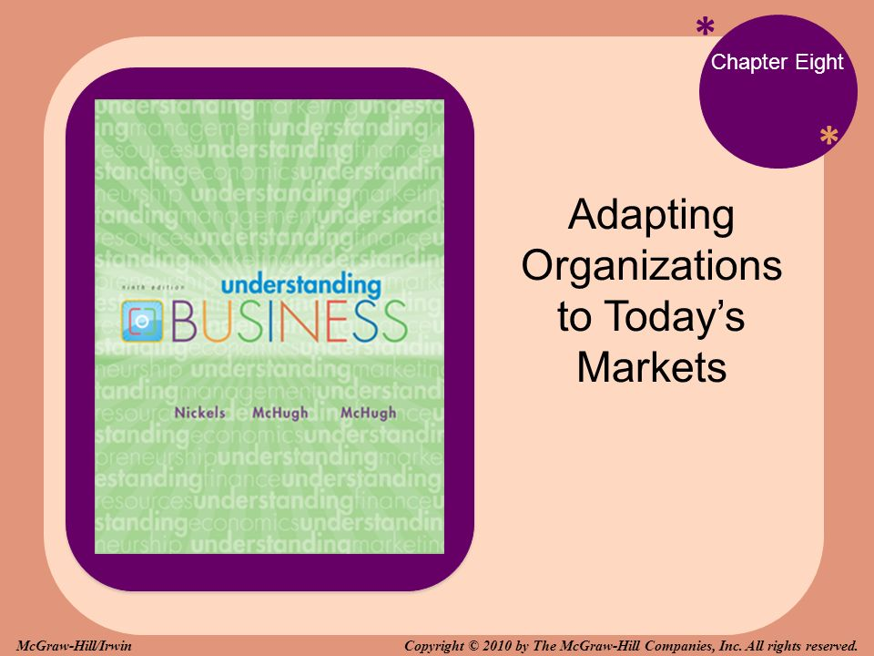 * * Chapter Eight Adapting Organizations to Today's Markets Copyright © 2010 by The McGraw-Hill Companies, Inc. All rights reserved.McGraw-Hill/Irwin