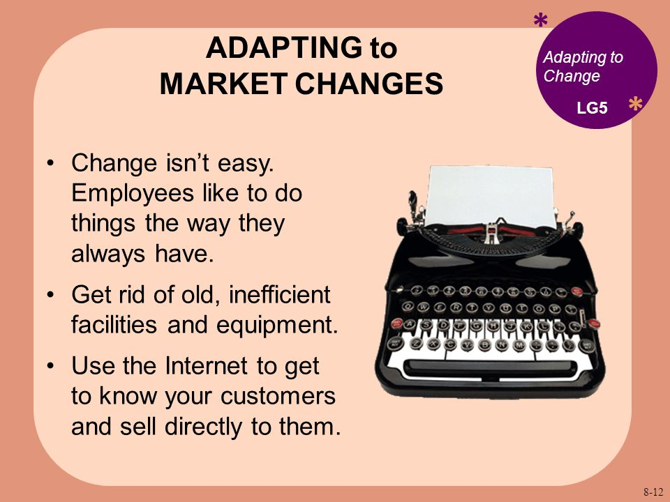 * * Adapting to Change Change isn't easy. Employees like to do things the way they always have.