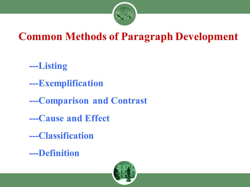 Marvelous 1    Listing    Exemplification    Comparison And Contrast    Cause And  Effect    Classification    Definition Common Methods Of Paragraph  Development