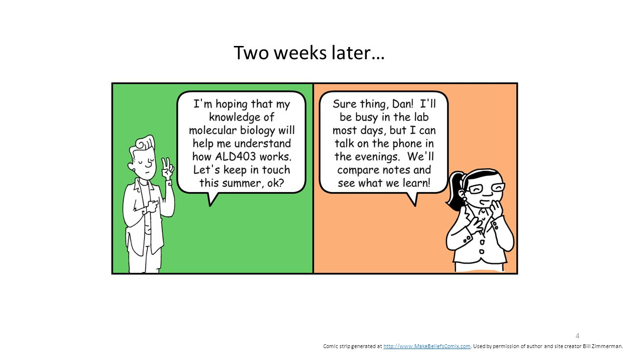 Two weeks later… 4 Comic strip generated at http://www.MakeBeliefsComix.com.