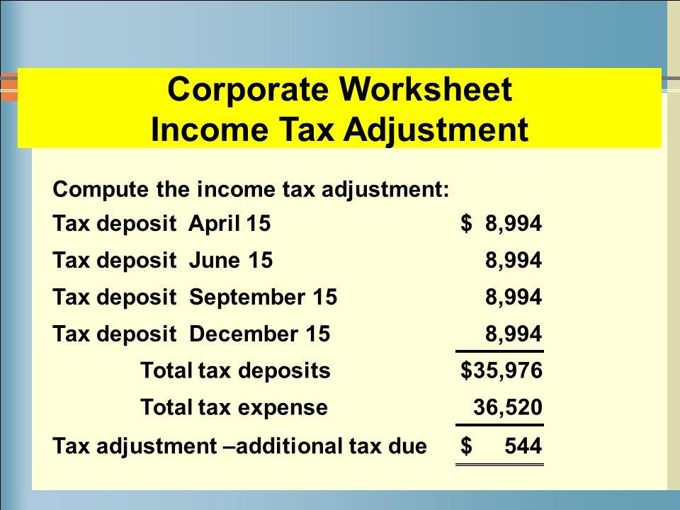 tax expense worksheet