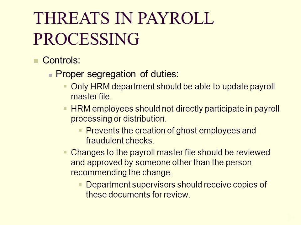 threats in payroll processing controls proper segregation of duties only hrm department should. Resume Example. Resume CV Cover Letter