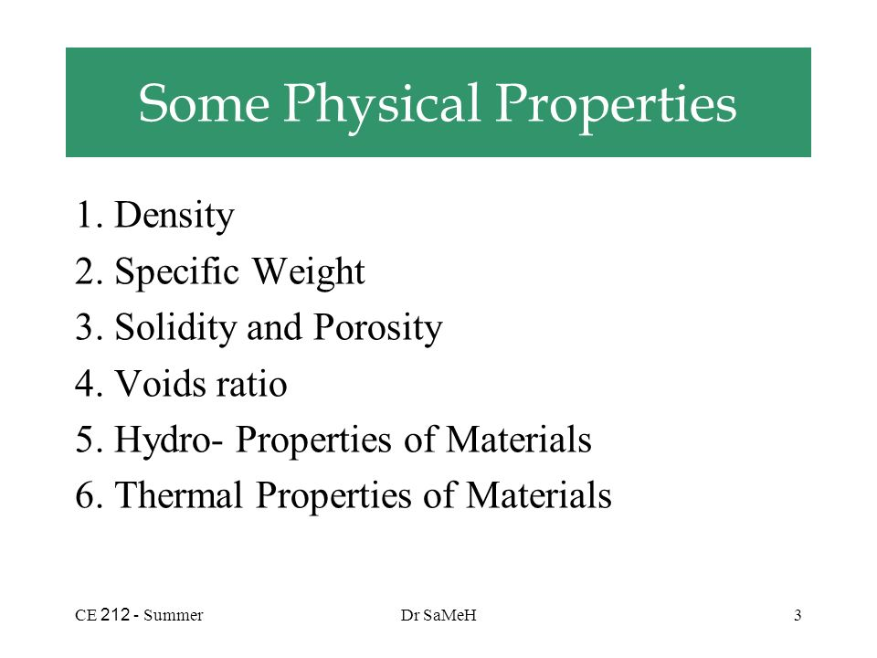 Ce summerdr sameh1 properties of materials strength 1 ce 212 density 2 specific weight 3 sciox Images