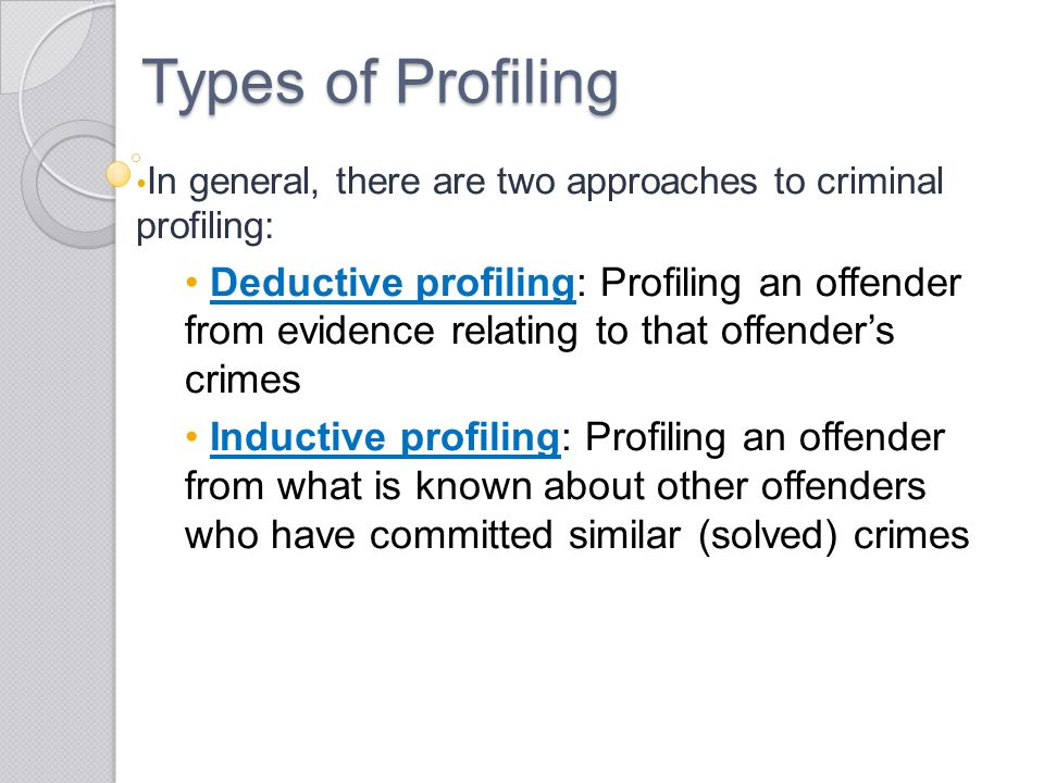 chapter criminal profiling questions from my last lecture youth  15 types