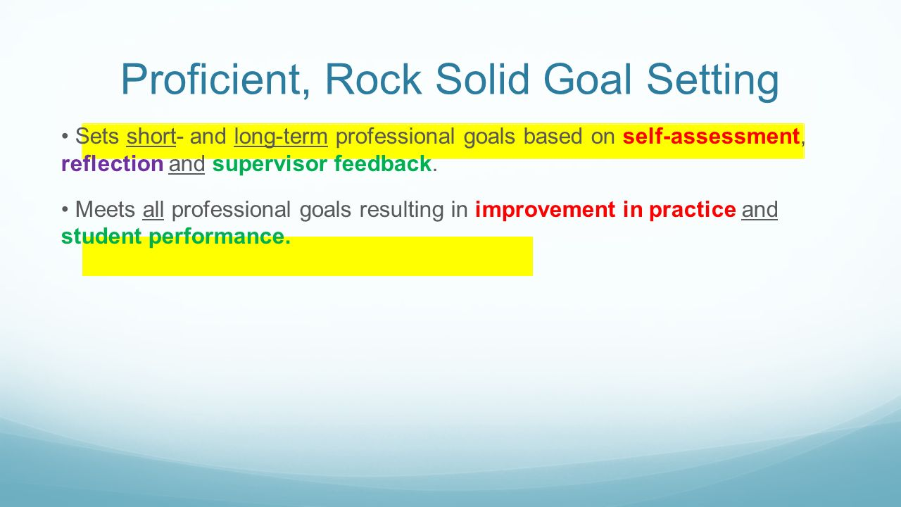 setting your goals for ttess insert campus here ppt proficient rock solid goal setting sets short and long term professional goals based