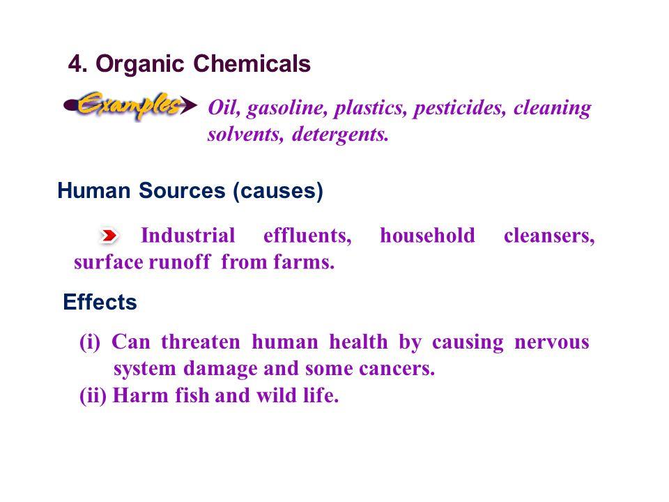 4. Organic Chemicals Oil, gasoline, plastics, pesticides, cleaning solvents, detergents.