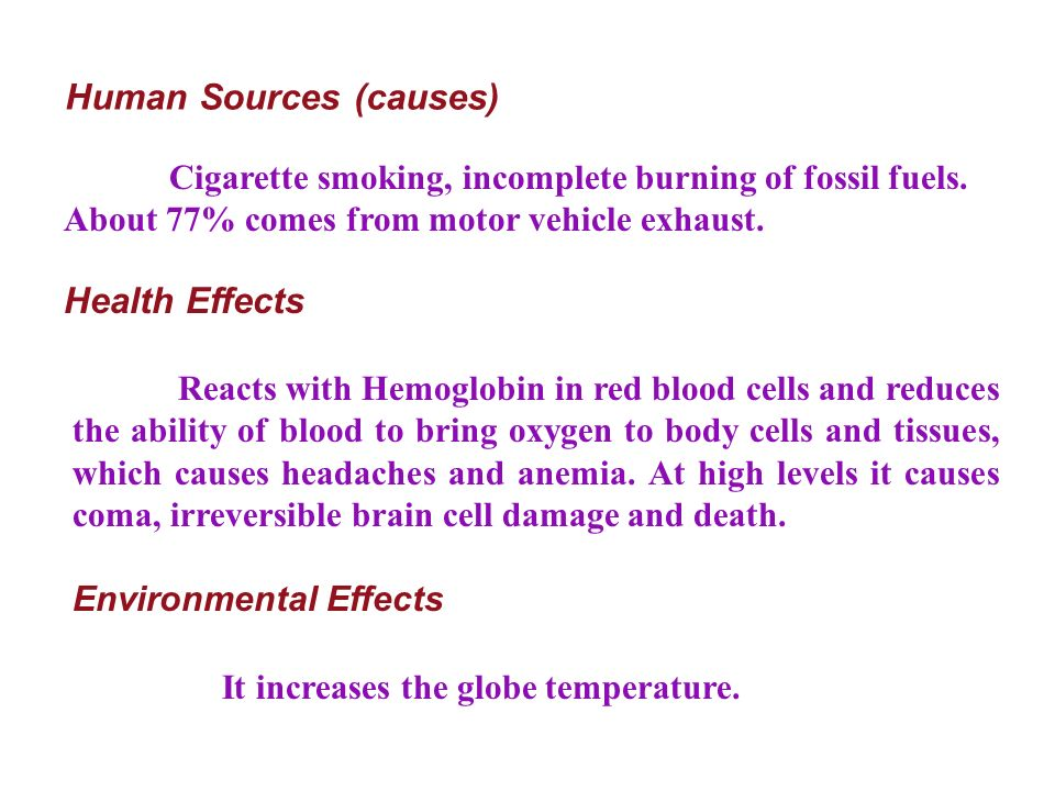 Health Effects Reacts with Hemoglobin in red blood cells and reduces the ability of blood to bring oxygen to body cells and tissues, which causes headaches and anemia.