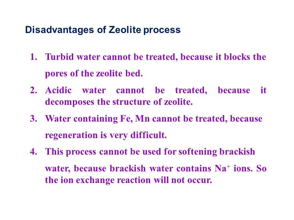 Disadvantages of Zeolite process 1.