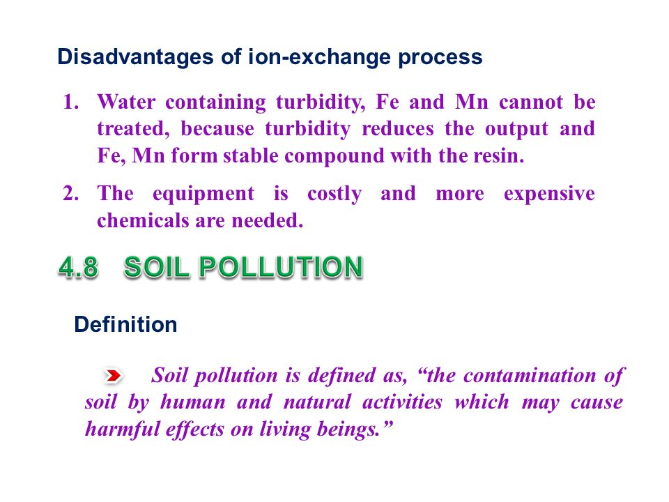 Disadvantages of ion-exchange process 1.
