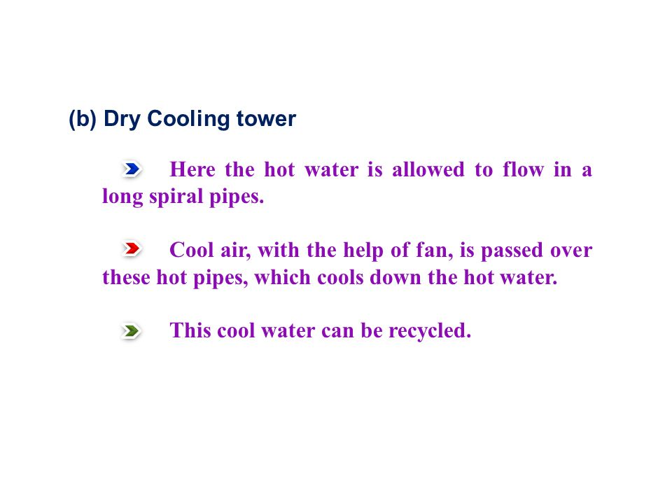 (b) Dry Cooling tower Here the hot water is allowed to flow in a long spiral pipes.