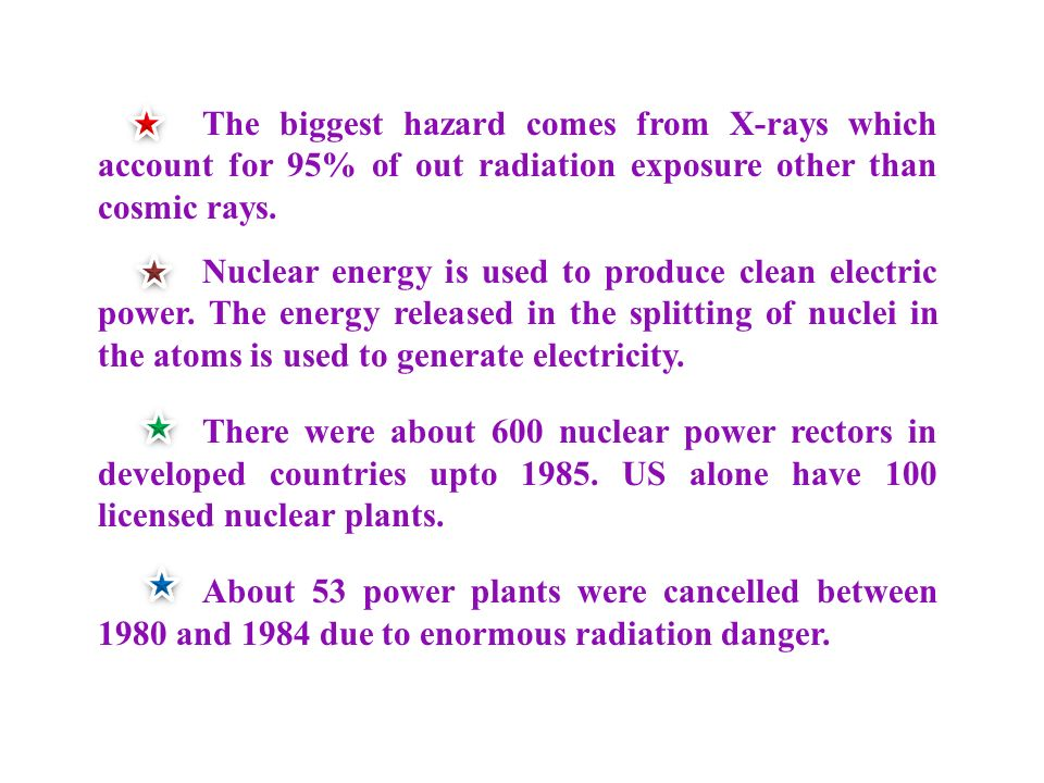 Nuclear energy is used to produce clean electric power.