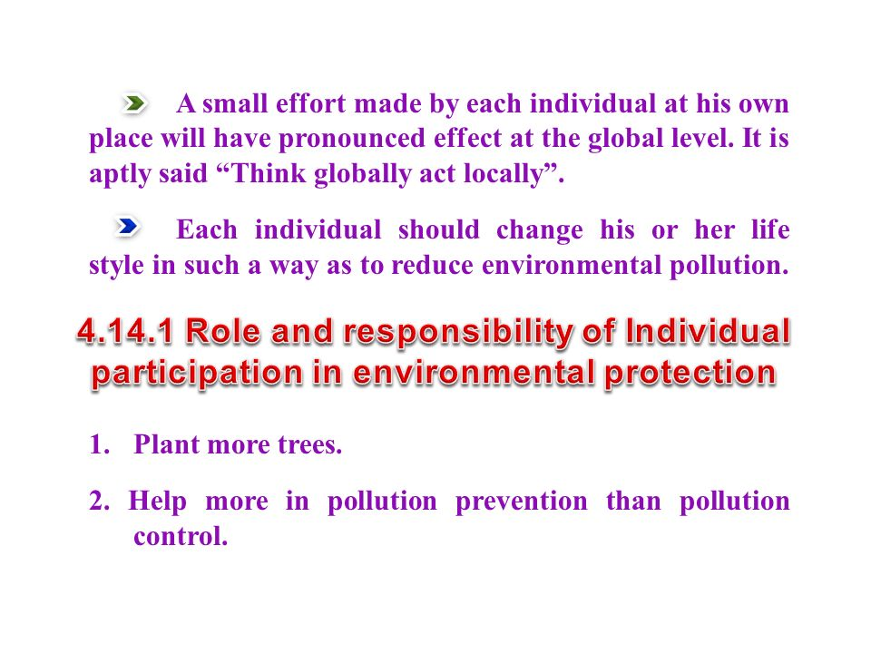 1. Plant more trees. 2. Help more in pollution prevention than pollution control.