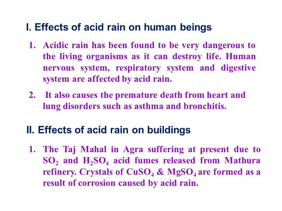 I. Effects of acid rain on human beings 1.