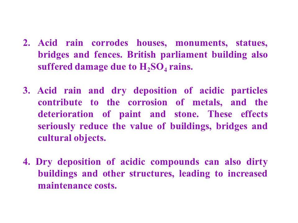 2. Acid rain corrodes houses, monuments, statues, bridges and fences.