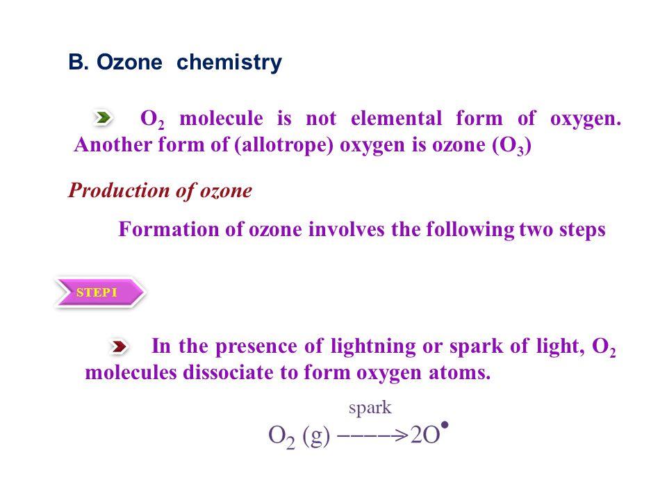 B. Ozone chemistry O 2 molecule is not elemental form of oxygen.