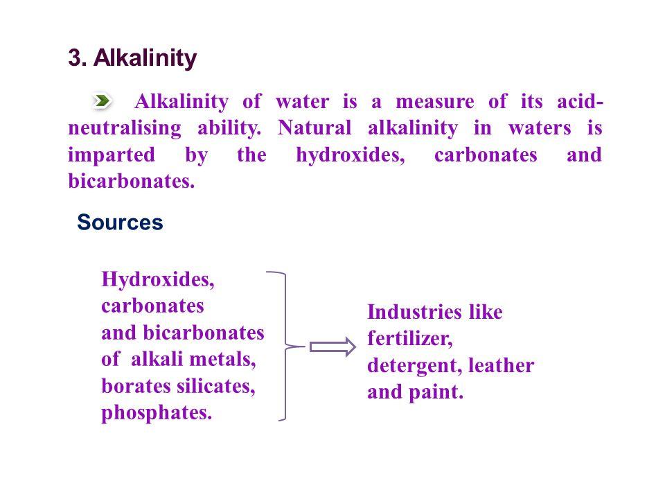 3. Alkalinity Alkalinity of water is a measure of its acid- neutralising ability.