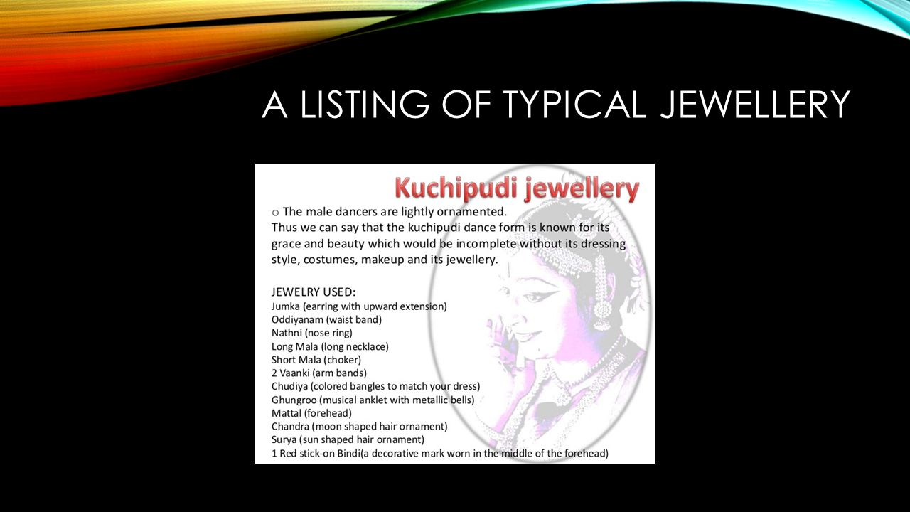A LISTING OF TYPICAL JEWELLERY
