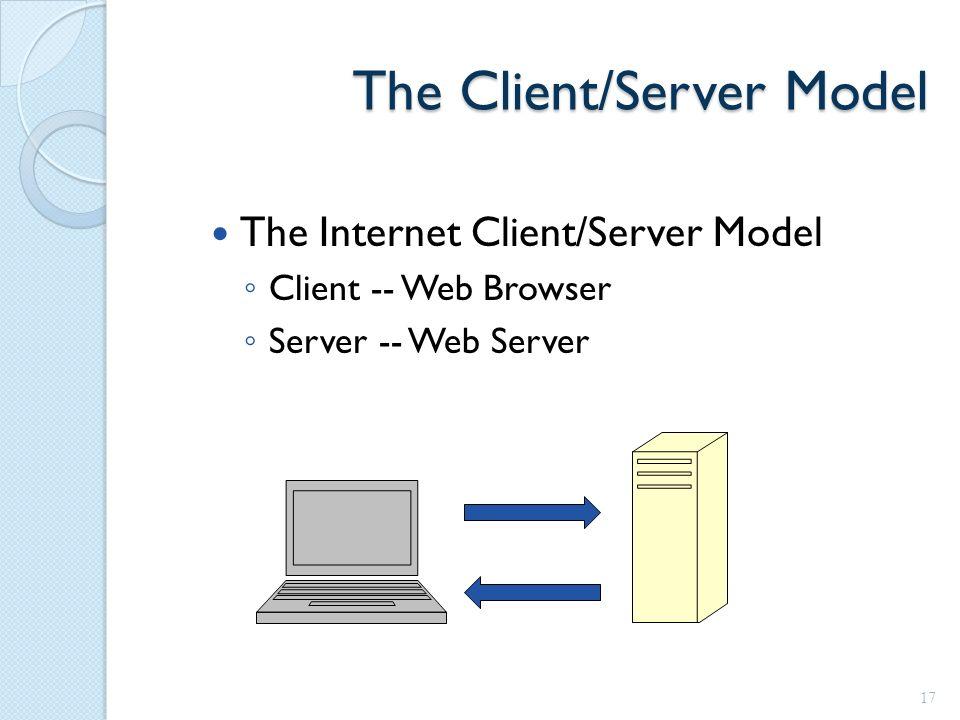 The Client/Server Model The Internet Client/Server Model ◦ Client -- Web Browser ◦ Server -- Web Server 17
