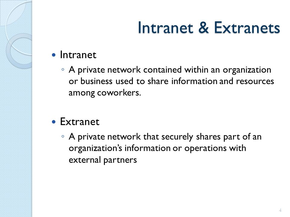Intranet & Extranets Intranet ◦ A private network contained within an organization or business used to share information and resources among coworkers.