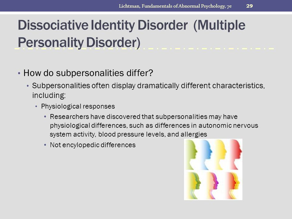 the different opinions on multiple personality disorder Dissociative identity disorder (did) is characterized by the presence of two or more distinct states of personality or identities it is a form of multiple.