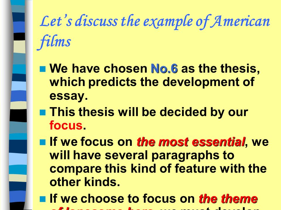 focus of an essay Focus is the ability to devote our full attention and concentration to a person or process focus lends clarity and direction to our day to day activities.