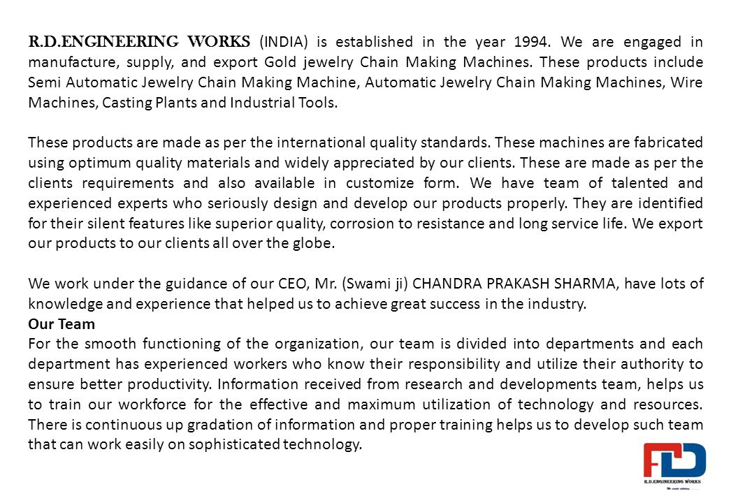 R D ENGINEERING WORKS Mobile no id ppt