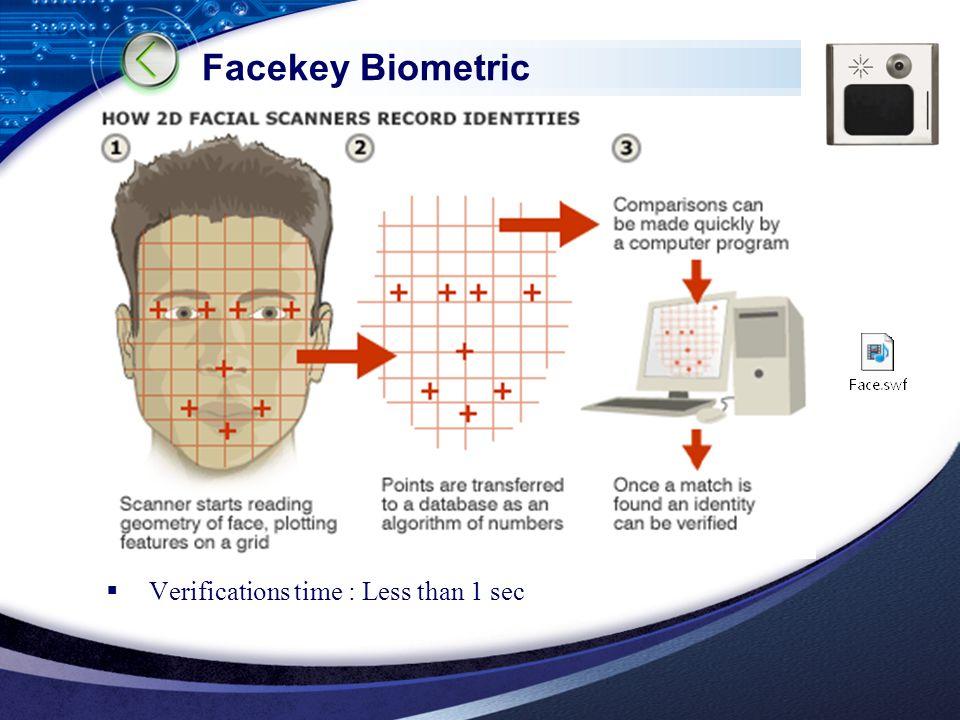 LOGO Facekey Biometric  Verifications time : Less than 1 sec