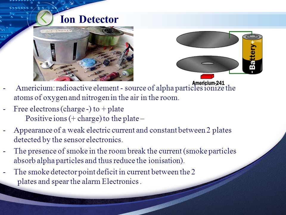 LOGO Ion Detector - Americium: radioactive element - source of alpha particles ionize the atoms of oxygen and nitrogen in the air in the room.