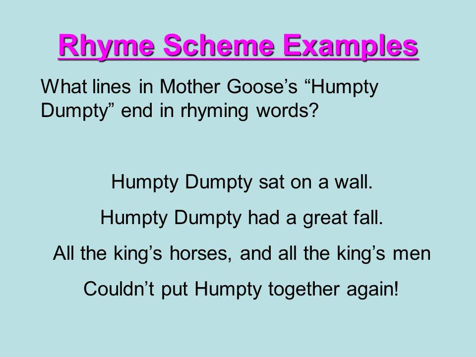 Rhyme Scheme Rhyme scheme is the pattern in which the last words in ...