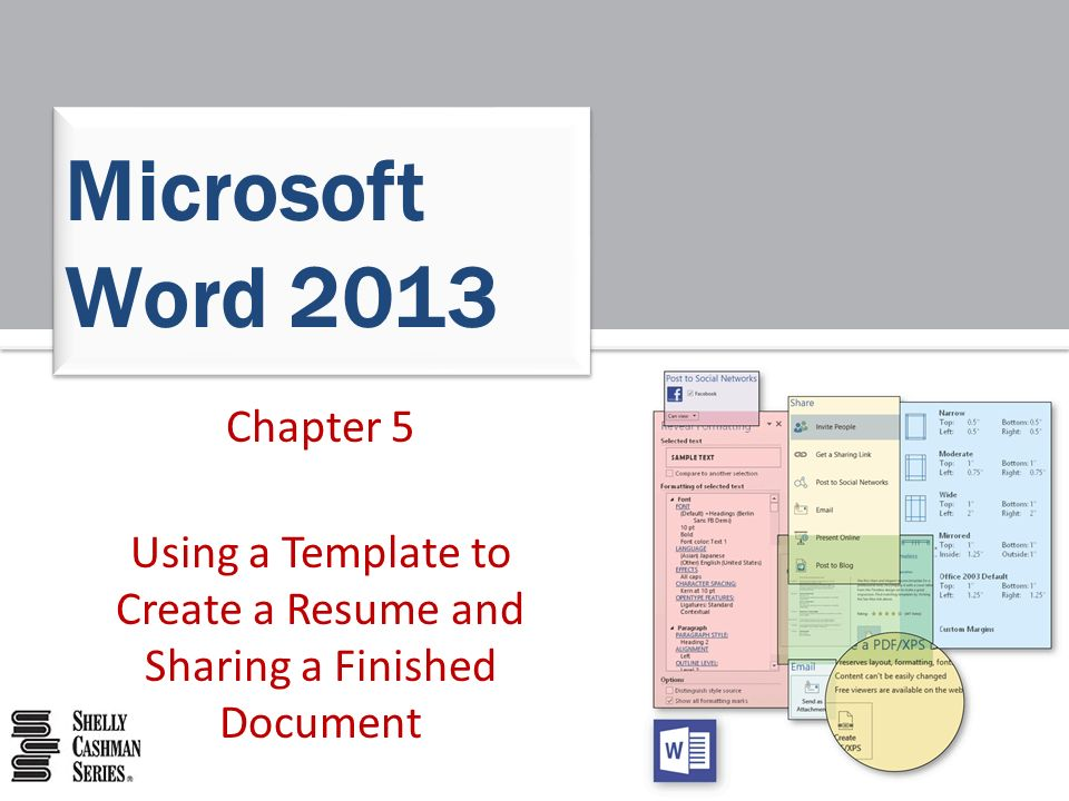 1 chapter 5 using a template to create a resume and sharing a finished document microsoft word 2013