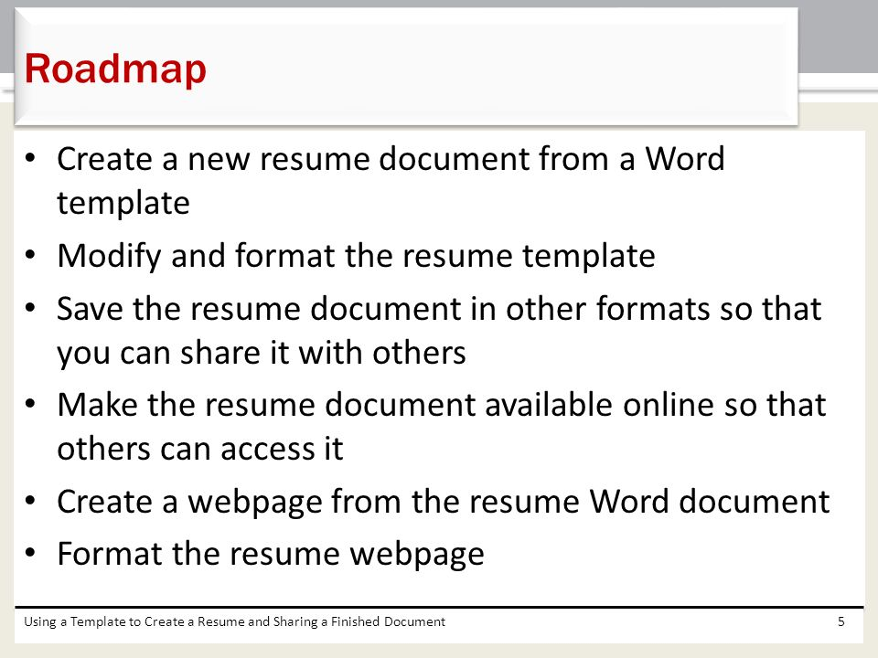 Chapter 5 Using a Template to Create a Resume and Sharing a – Resume Word Templates